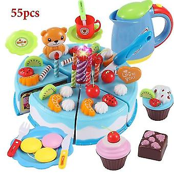 Toy kitchens play food blue-55pcs role play birthday cake food cutting set kids toy