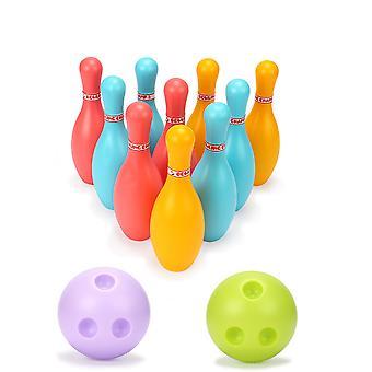 Homemiyn أطفال البولينج مجموعة لعبة ممتعة البولينج مجموعة داخلية في الهواء الطلق لعب الرياضة هدايا للطفل (10 زجاجات + 2 كرات)