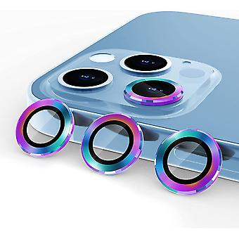 Aluminum Alloy Lens Protective Cover,camera Lens Protective Film Specially Designed For Iphone 11/12mini/12, Tempered Glass Film,  Colorful3 Pack