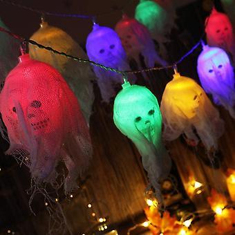 Halloween dekorasjoner, 10 led batteridrevet hodeskalle Halloween streng lys