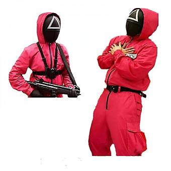 Squid Game Villain Red Jumpsuit Cosplay Costume Halloween Party Round Six Mask Halloween Mask Cothes Set