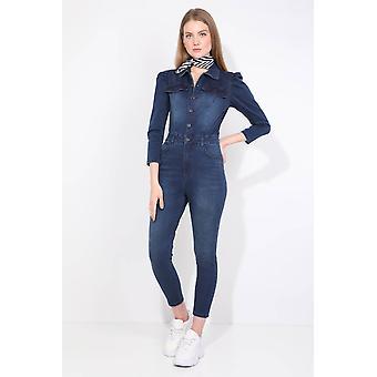 kvinner marineblå knappet jean jumpsuit bukser