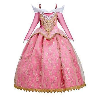 眠れる森の美女アイラープリンセスドレス、刺繍レースの女の子のドレスハロウィーン