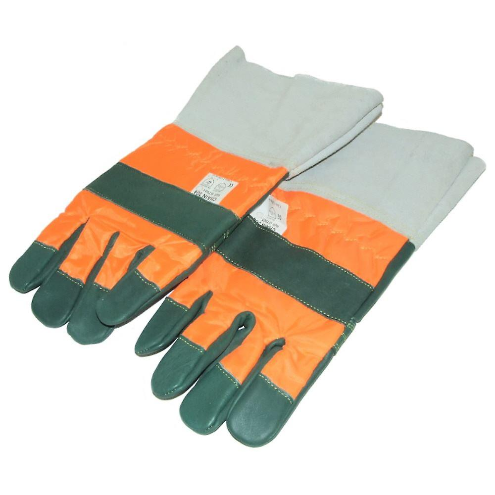 CHAINSAW GLOVES CLASS 1 WITH LEATHER CUFFS LARGE