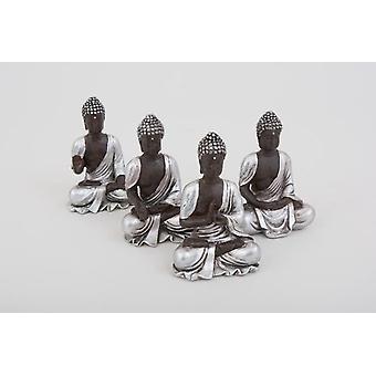 Zestaw 4 Ornament ozdobny siedząc Thai Buddy srebrne figurki w domu