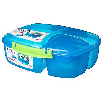 Sistema Triple Split 2L Lunch Box with Yoghurt Pot, Blue