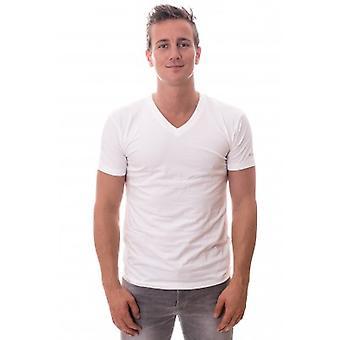 Cali Stretch T-shirt TWOPACK weiß mit v-Ausschnitt (CL-1223)