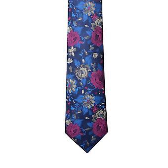 ナイツ ブリッジ ブルー花柄シルク ネクタイ