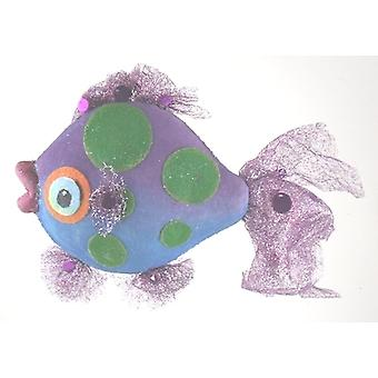 Purple Fins Tropical Blue Fish Nautical Beach Christmas Holiday Tree Ornament