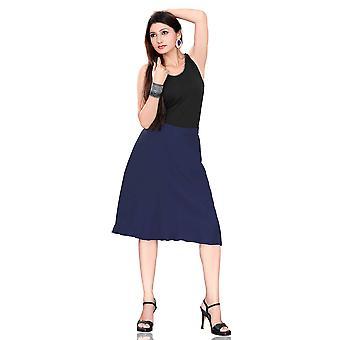 Geplooid A-Line Womens rok, marineblauw