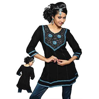 Black Kurti crushed georgette with ribbon worked neckline and lace borders.