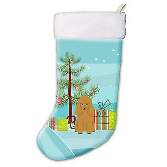 Carolines Treasures  BB4194CS Merry Christmas Tree Poodle Tan Christmas Stocking