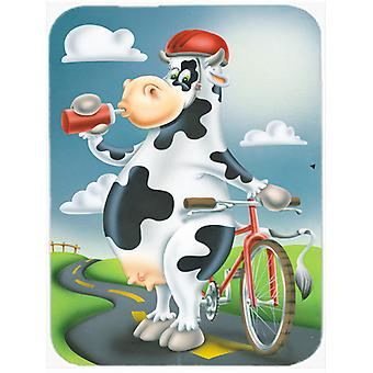 Carolines Treasures  APH0532LCB Cow on a Bike Ride Glass Cutting Board Large