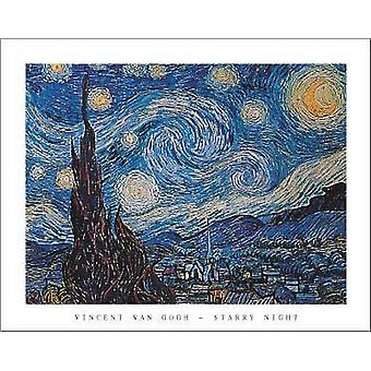Starry Night affisch skriva ut av Vincent Van Gogh (28 x 22)