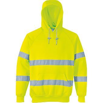 Portwest Mens hohe Vis Kapuzen-Sweatshirt