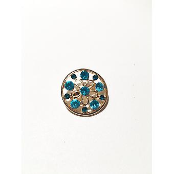 Gold and Mermaid Blue Circular Brooch