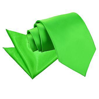 Apple Green Plain Satiini Tie & taskussa neliön Set
