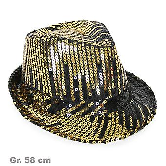Sequin Hat svart og gull skinnende Hat sequin lue