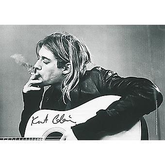 Kurt Cobain & gitaar grote stof Poster / vlag 1100 X 750 Mm