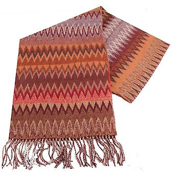 Bassin and Brown Baggio Chevron Wool Scarf - Wine/Brown/Grey
