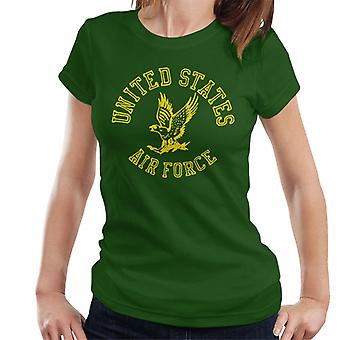 US Airforce Eagle Yellow Text Women's T-Shirt