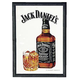 Jack Daniel's Spiegel -Glass & Bottle- Wandspiegel mit schwarzer Kunststoffrahmung in Holzoptik.