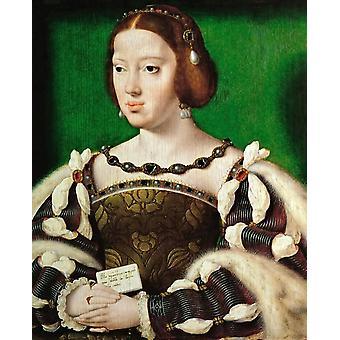 Portræt af Eleonora, dronning af Frankrig, van Cleve, 35,5 x 29,5 cm