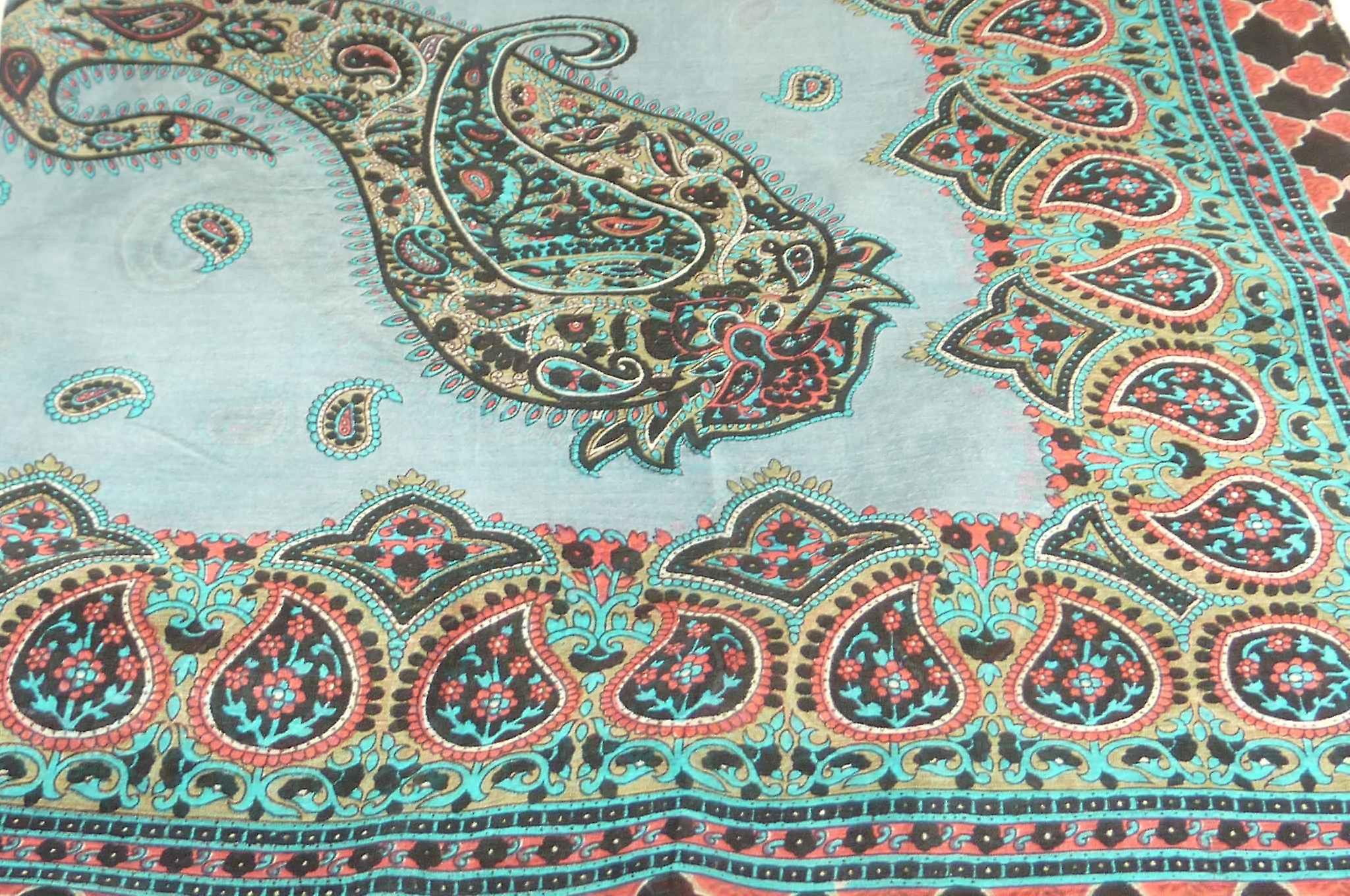 Mulberry Silk Traditional Square Scarf Ladi Black by Pashmina & Silk