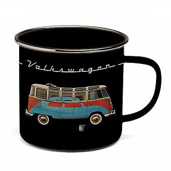 Official VW Camper Van + VW Beetle Enamel Tin Mug - Black