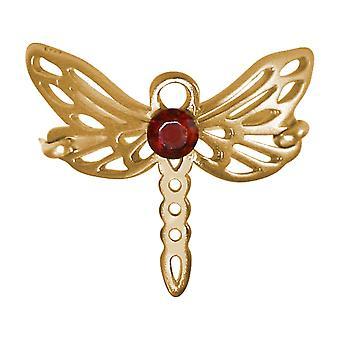 Gemshine ring trollslända med röd granat ädelsten 925 silver hög kvalitet guldpläterad
