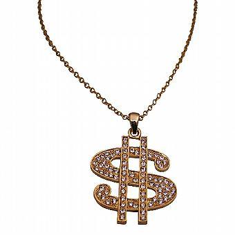 Segno del dollaro dell'oro pendente collana Bling Bling w / zircone cubico