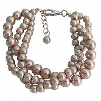 Twisted tre Strand Bracciale Champagne Bridemsaid perla gioielli