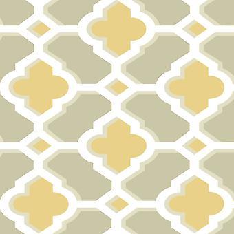Papier peint géométrique rétro vintage jaune blanc taupe pâte le décor de mur fine