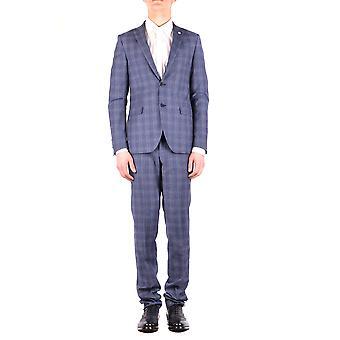 Manuel Ritz Ezbc128022 Men's Blue Wool Suit