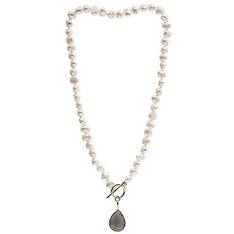 Pearls of the Orient Irregular Freshwater Pearl Labradorite Drop Necklace - Grey/White