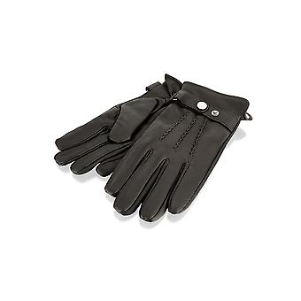Mens Brown Velcro Strap Leather Gloves