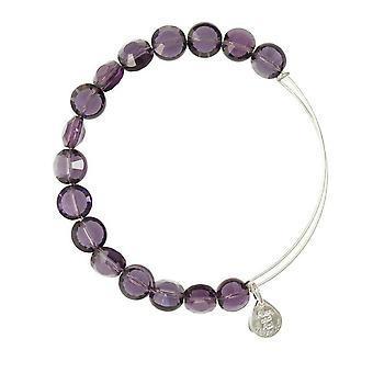 Alex and Ani Amethyst Luxe Bead Silver Bangle BBEB141S