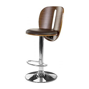 Fusion Living Brown Faux Leather And Walnut Contemporary Bar Stool