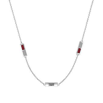 Troy University Sterling Silver Engraved Triple Station Necklace In Red and Grey