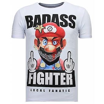 Fight Club Mario - Rhinestone T-shirt - Wit