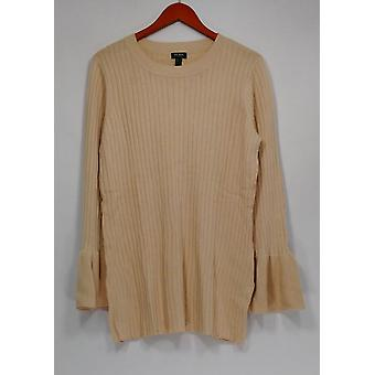 Du Jour Sweater Crew Neck Rib Knit c/ Bell Sleeves Bege A295382 PTC