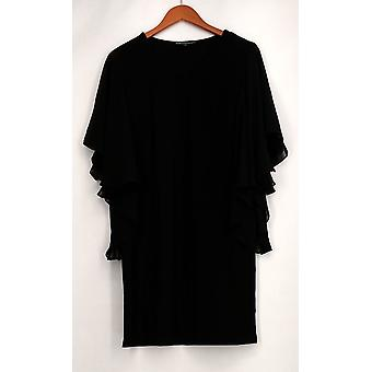 aDRESSing Woman Dress V-Neck Woven Flutter Sleeves Black Womens A422785