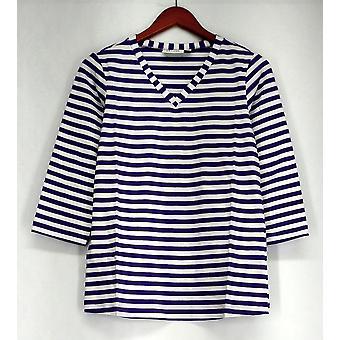 Denim & Co. Top 3/4 Sleeve V-Neck Striped Knit Light Purple A231995