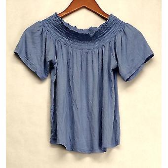 Ultra Flirt Top Stretch Knit Short Sleeve Elastic Neck Blue Womens