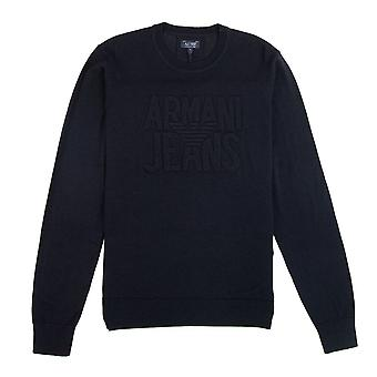 Armani Jeans In rilievo Logo Leggero Felpa Blu
