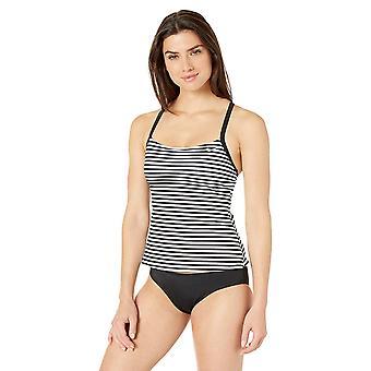 Nike Schwimmen Frauen's Laser Stripe Racerback Tankini Badeanzug Set, schwarz, Medium
