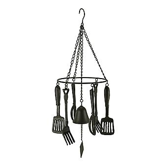 Rustic Brown Cast Iron Hanging Kitchen Utensils Wind Chime