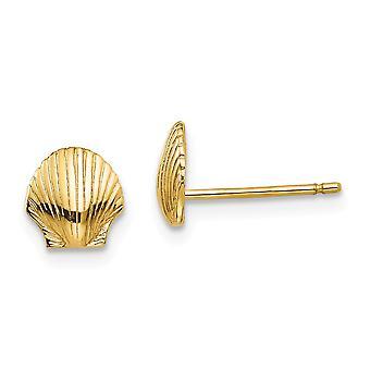 14k gul guld tekstureret poleret Mini til drenge eller piger kammusling Shell Post øreringe -.9 gram