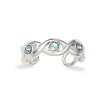 925 Sterling Silver Solid Polished Crystal Toe Ring Jewelry Gifts for Women