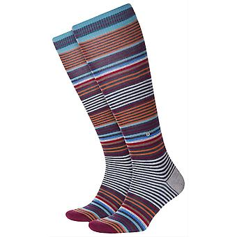 Chaussettes Burlington Stripe Knee High - Bleu foncé/Gris/Orange